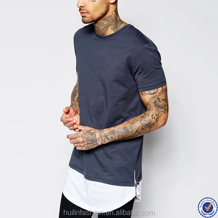 extended t shirt wholesale china short sleeve curved hem longline t shirt with zip side