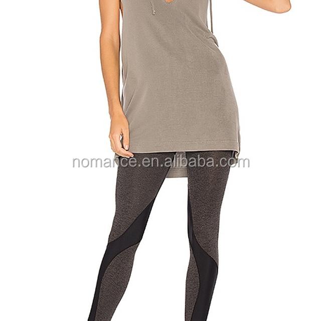 Latest Womens sleeveless hoodies V Neckline hoddie Knit Top