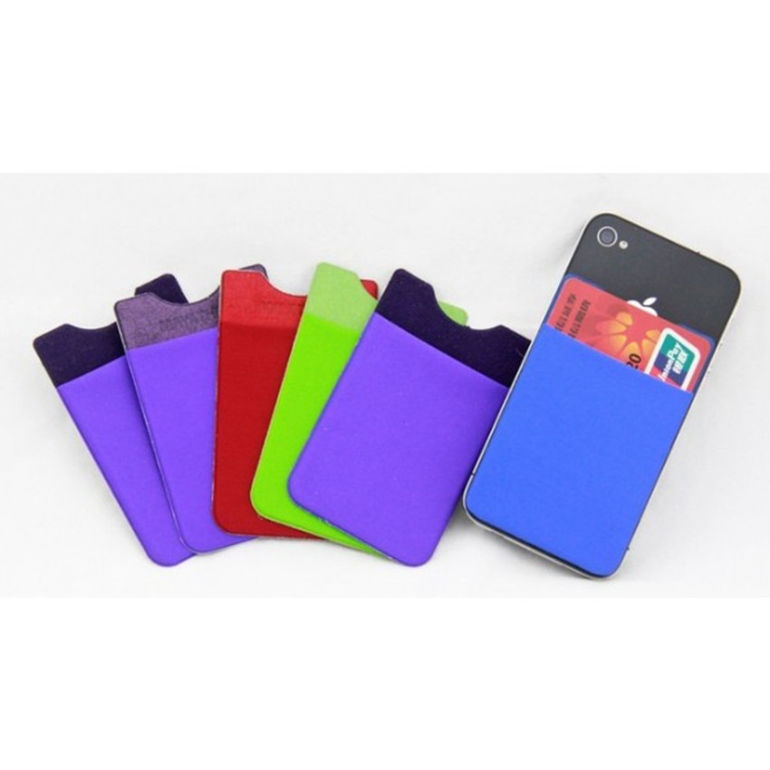 Universal silicone mobile phone card holder with pocket/3m sticker credit card holder/3m sticky smart phone wallet