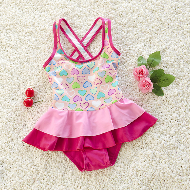 Kids One-piece Swimsuit Dress Children Loving Heart Printed Swim Dress Swimwear Girls One Piece Swimsuit