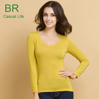 2014 New Model Stretchable Cotton Spandex Long Sleeve Tight T Shirt for Women
