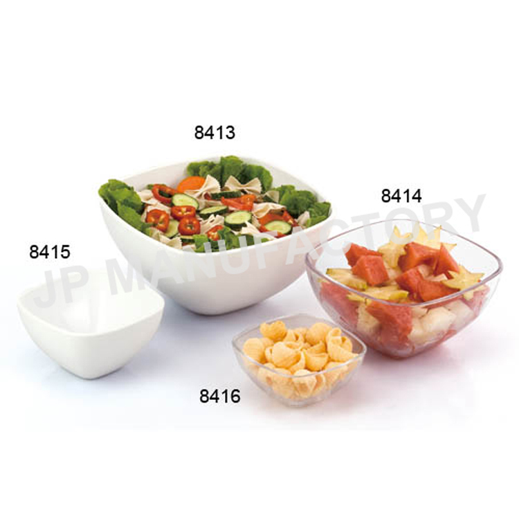 Clear acrylic square salad bowl