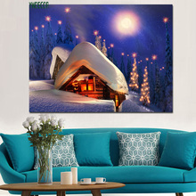 Factory Wholesale Price Light Up LED Wall Painting Christmas Art Canvas Print Picture With LED Light
