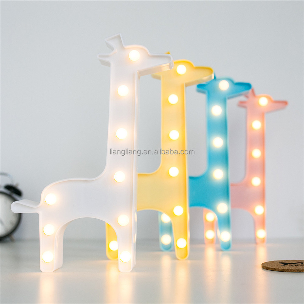 good quality factory price plastic giraffe led marquee light