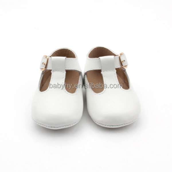 2017 fashion Tbar baby leather shoes white baby ballet shoes