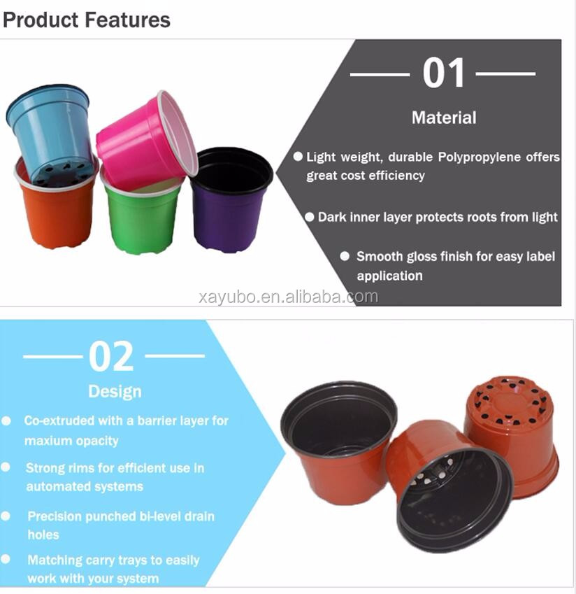 hot sale outdoor plastic thermoforming colored flower pot for plantings