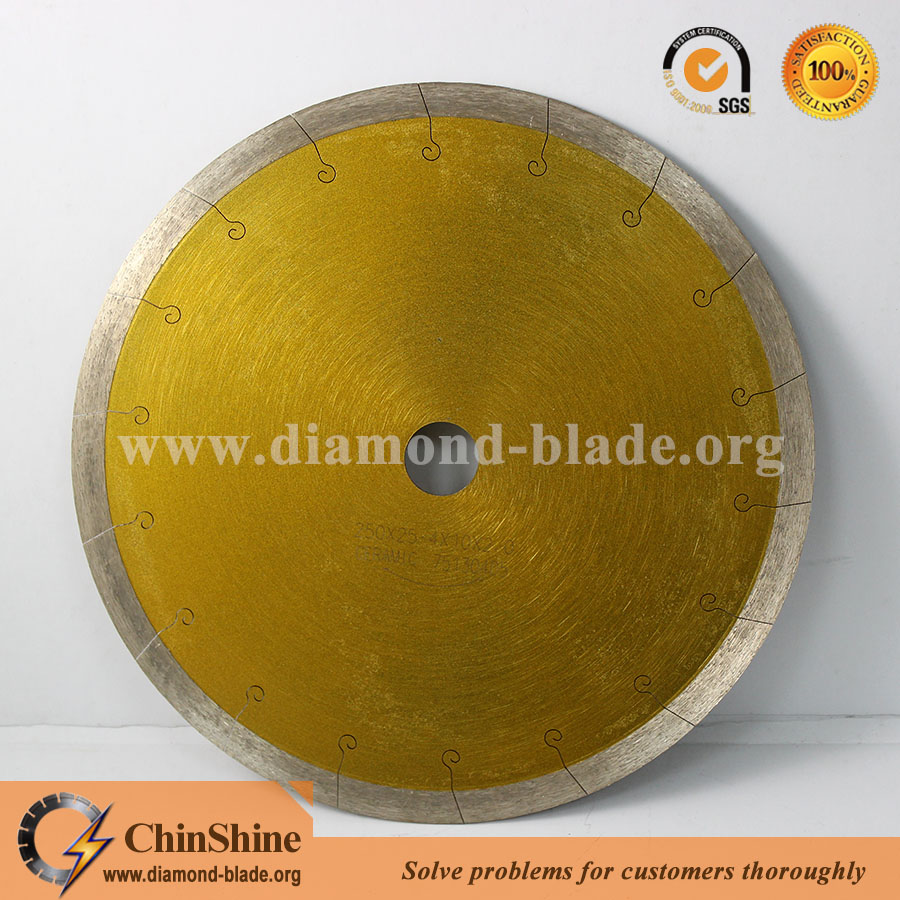 Professional series porcelain diamond blade featuring a J slot style segment for cool clean cutting