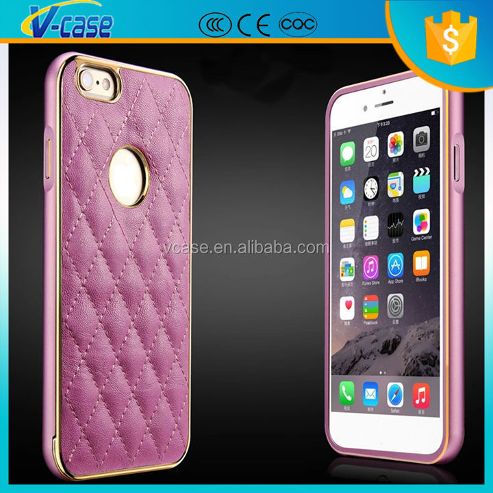 Luxury pink aluminum bumper soft pu leather phone case for iphone 6