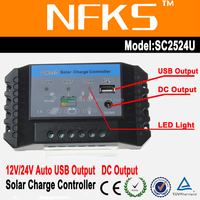 Street light controller 25A 12v/24v auto dc output pwm solar charge controller