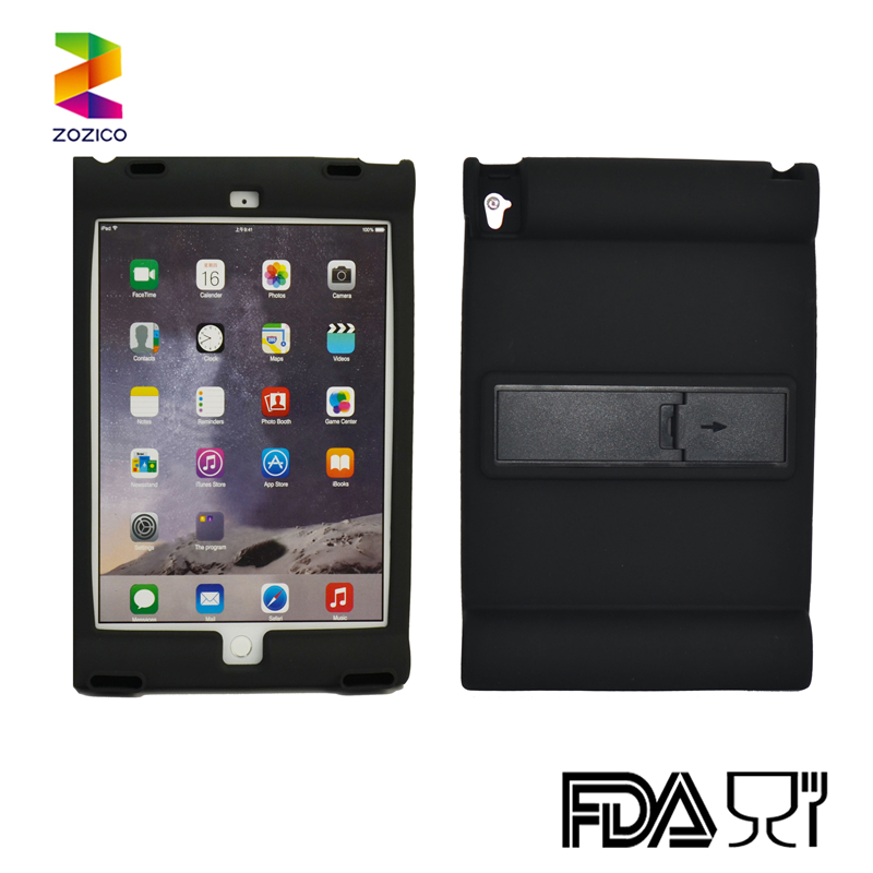 Silicone tablet case with speaker Easily handled tablet cover silicone case with back stand