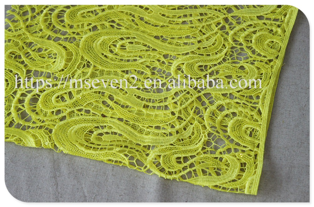 Fashion design polyester beige water-soluble guangzhou lace fabric for dress