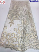 Wedding White Dress Net Fabric 2016 China Handmade Top Quality Luxury Beads African Style Lace For Making Clothes