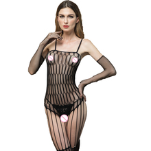 Women Lace Tight Sexy Black Crotchless Lingerie Suspender Fishnet Bodystocking