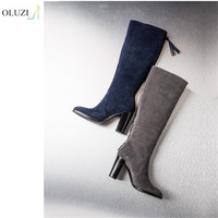 OlzB20 Fanshion style of winter zipper up non-slip fluffy charming high boots for vogue