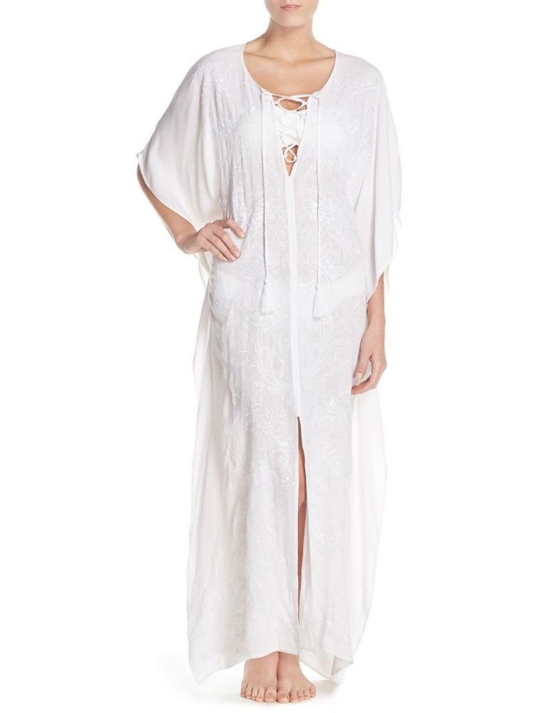 C70 Embroidered Cover-Up Long Cotton Beach Wear Kaftan Caftan Dress