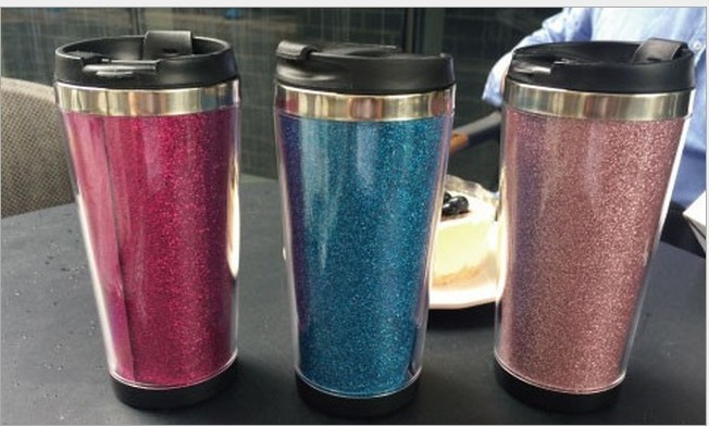 High quality stainless steel tumbler with glitter insert,double wall thermal coffee mug,480ML stainless steel glitter tumbler