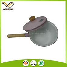 Wholesale pink enamel kitchen cooking pots and pans with handle