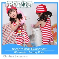 New arrival cute angry bird pattern beach wear red/blank stripe navy style kids swimwear for girls