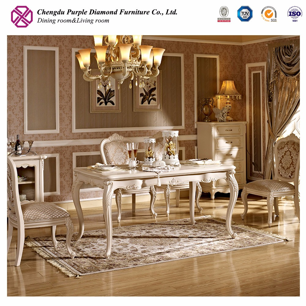 French style wooden carved furniture modern luxury dining table set