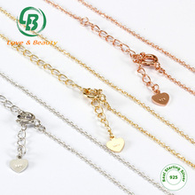 Jewelry With Heart Tag Cross Rolo Chain Gold Plated 925 Silver Chains Necklace