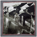 Jiangnan Ink Style Silk Satin Small Square Scarf hand hemming