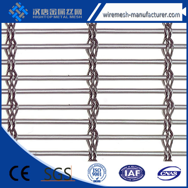 Steel architectural woven mesh fabric, metal coil link draperies for walls