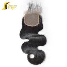 High quality 2.5*4 swiss lace middle part closure, brazilian body wave with closure,bra front closure