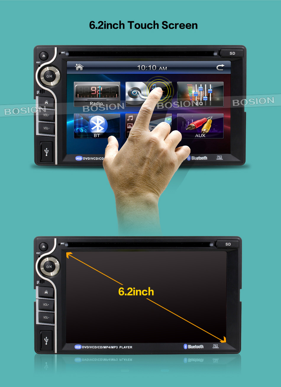 2Din DVD Player for Car NO GPS with 6.2inch Touch Screen