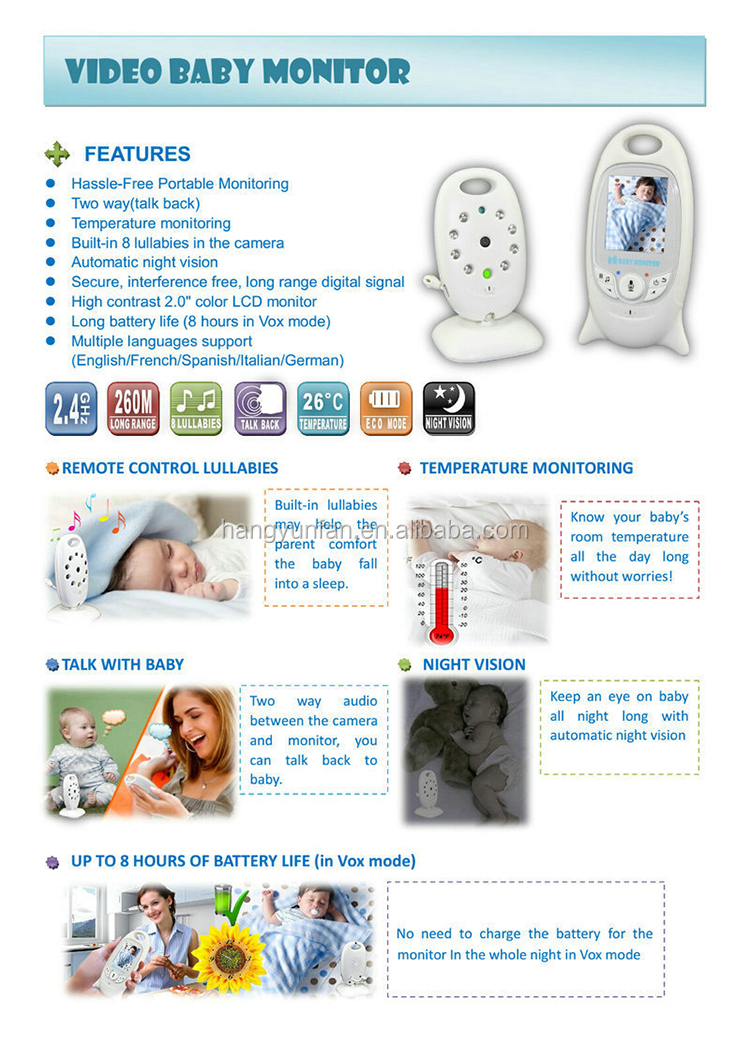 top sell vb601 2.4ghz night vision temperature monitor wirless video baby monitor camera