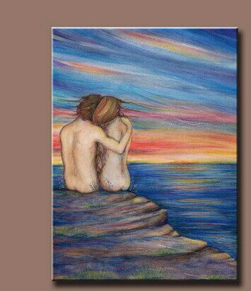Handpainted Painting a couple sit on the beach to see the seascape Oil Painting With Frames nude girl picture