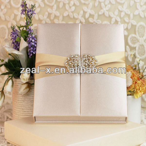 Good quality silk wedding invitation folio