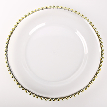 ALiiSAR Amazon disposable clear plastic charger <strong>plates</strong> with gold beads