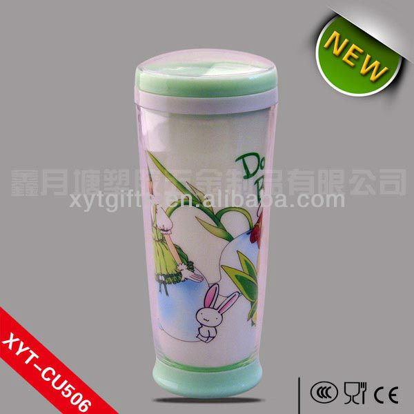 500ML/17.5OZ PP CUP WITH COVER FOR DRINKING,Paper insert removable tumbler