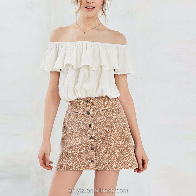 latest skirt design pictures of printed twill a-line skirts, floral printed single-breast mini skirts for women apparel
