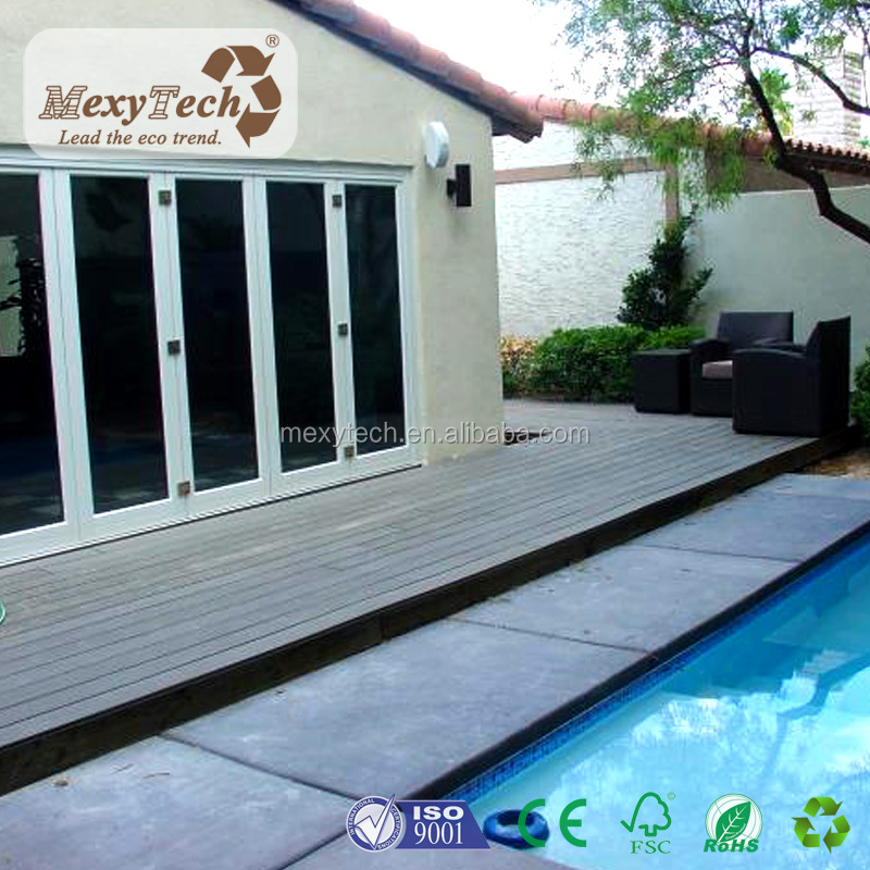 Flat Solid Plate WPC Composite Decking Easy To Installation Free Maintenance eco decking Board