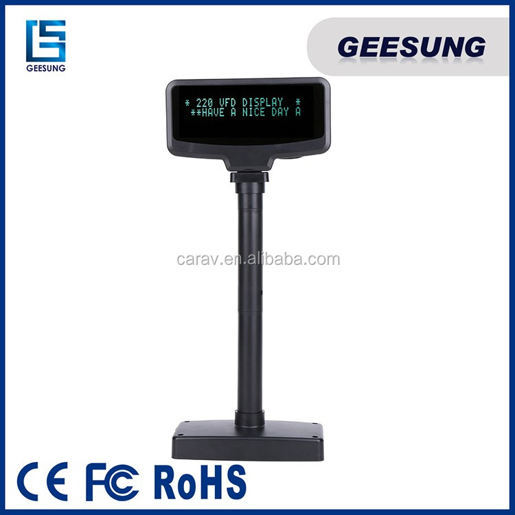 Blue/Green Color VFD Pole Display For Pos Arabic Language Support