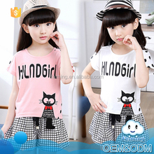 2016 new fashion kids clothes cute cat animal pictures newborn baby gift outfits girls boutique summer children clothing set