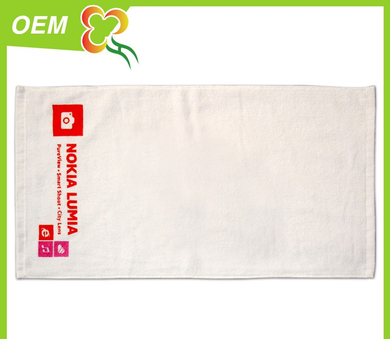 new promotion gift cellphone logo printed gift white velet towel