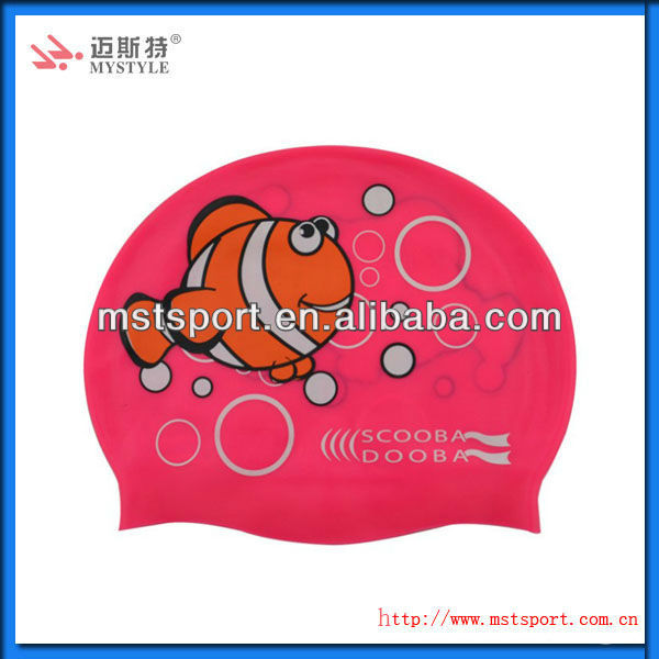 cartoon silicone swimming caps for kids