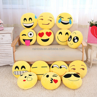 Supply cheap 30cm round plush soft toy emoticon plush emoji pillow