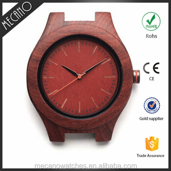 Popular 2016 western fashion red sandalwood genuine leather strap watches
