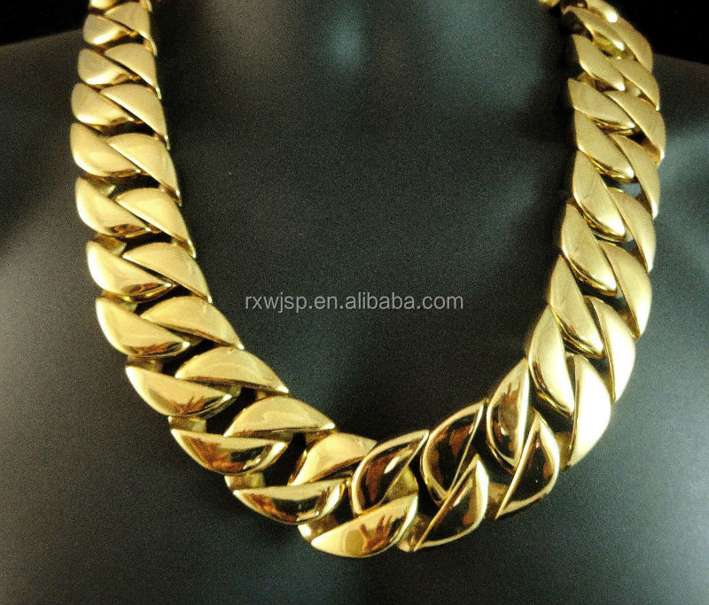 "Men's 24"" 14k Gold Plated Solid Heavy Yellow Gold Finish 30MM 900+Gm Stainless Steel Miami Cuban Chain Necklace"