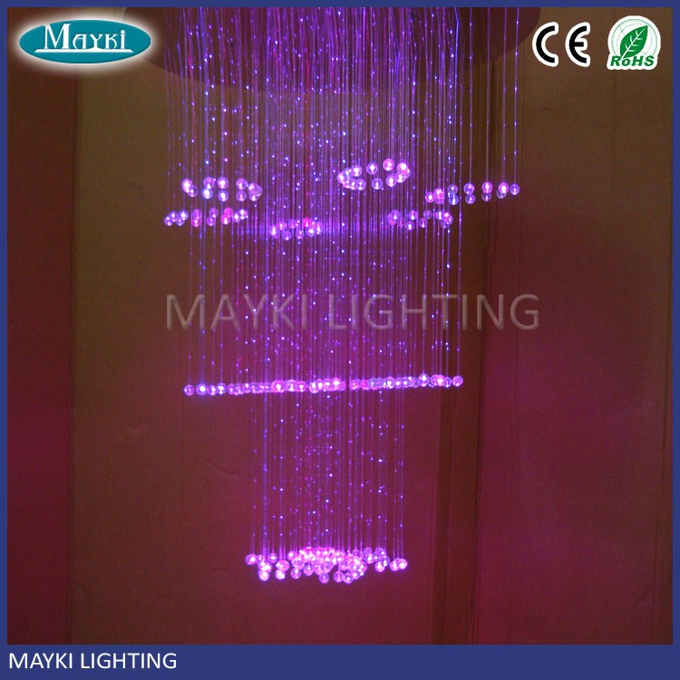 Hanging fiber optic lights chandeliers fiber optic mesh lighting for hotel lobby decoration