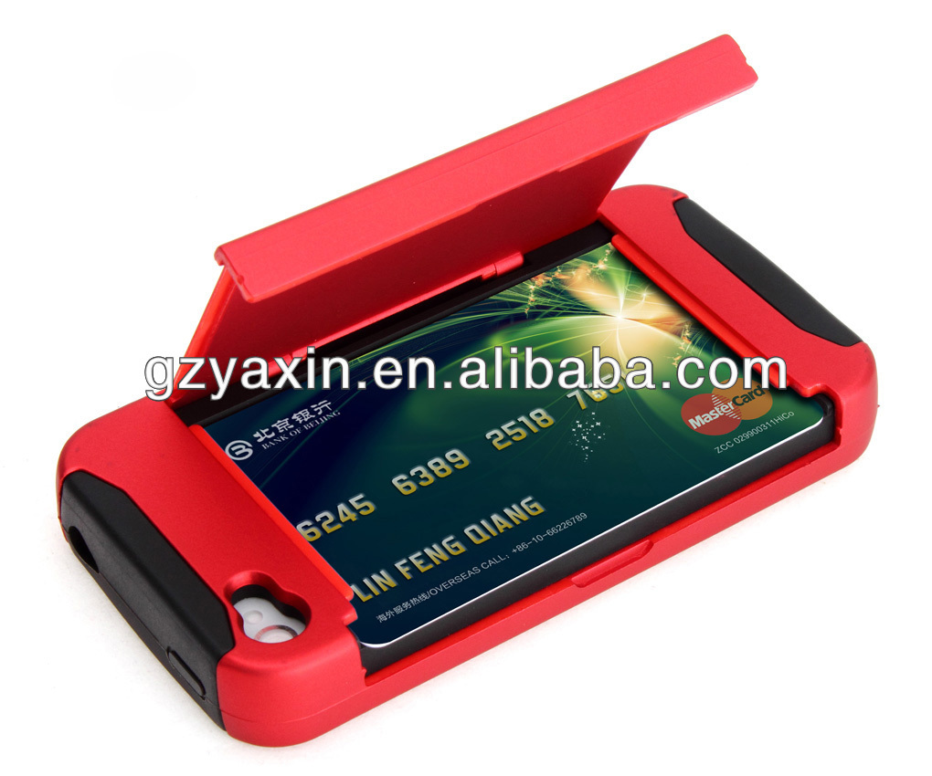 Shockproof case for iphone 4,Credit Card Slot Case for iPhone 4 4S