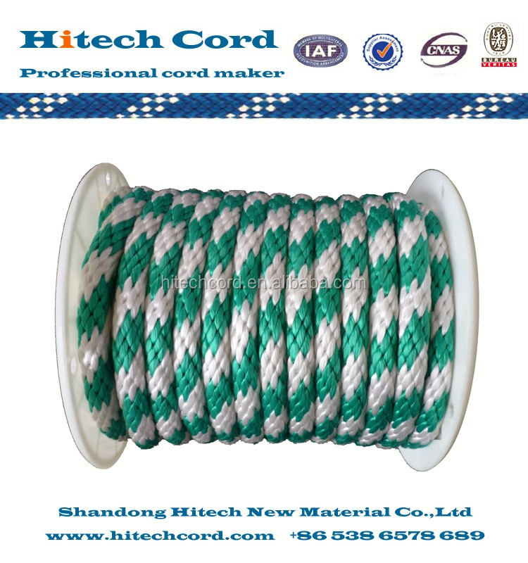 Green /white color 3/8 inch Polypropylene Solid Braid Derby Rope in Reel