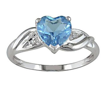 Blue heart and white Diamond Ring
