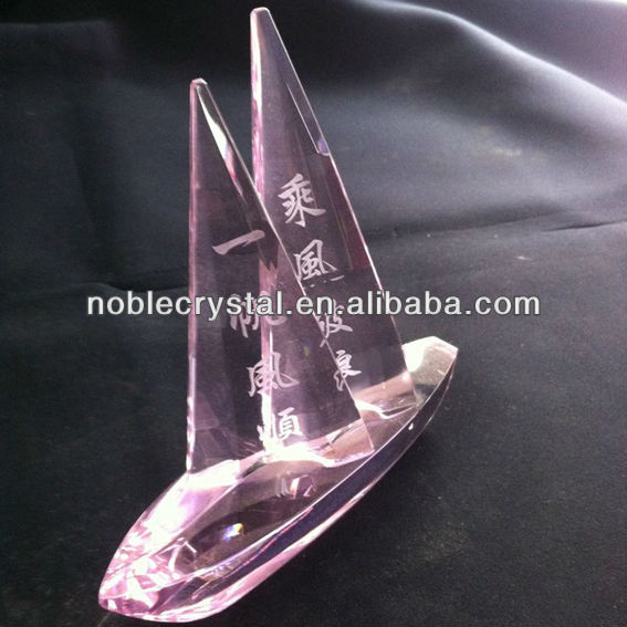 Crystal Sailing Boat Model Crafts Gifts Souvenirs