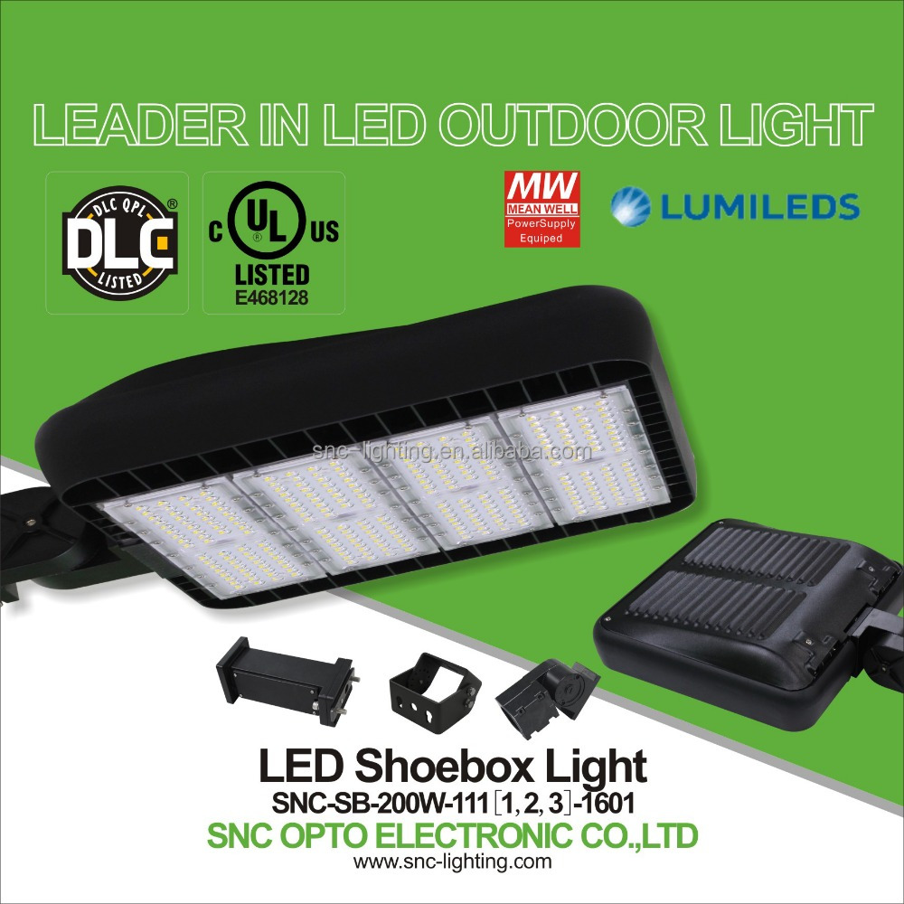 UL DLC Certification and Magnesium Alloy housing 200w led outdoor parking lot lighting