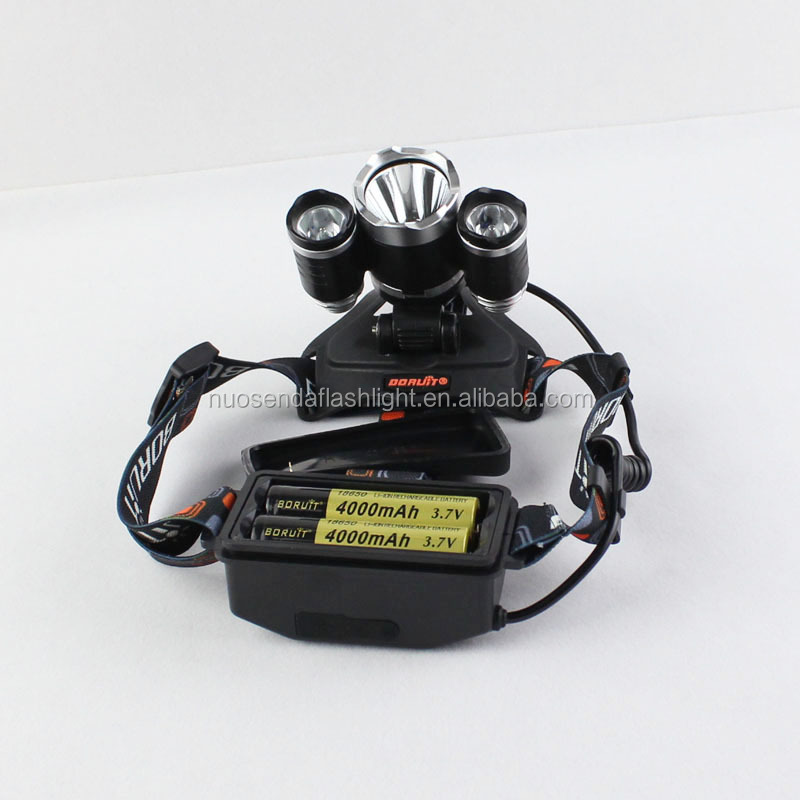 BORUIT RJ-5000 3xCREE XM-L2 5000 Lumens 4-Mode LED Headlamp (2x18650)-Attack Head