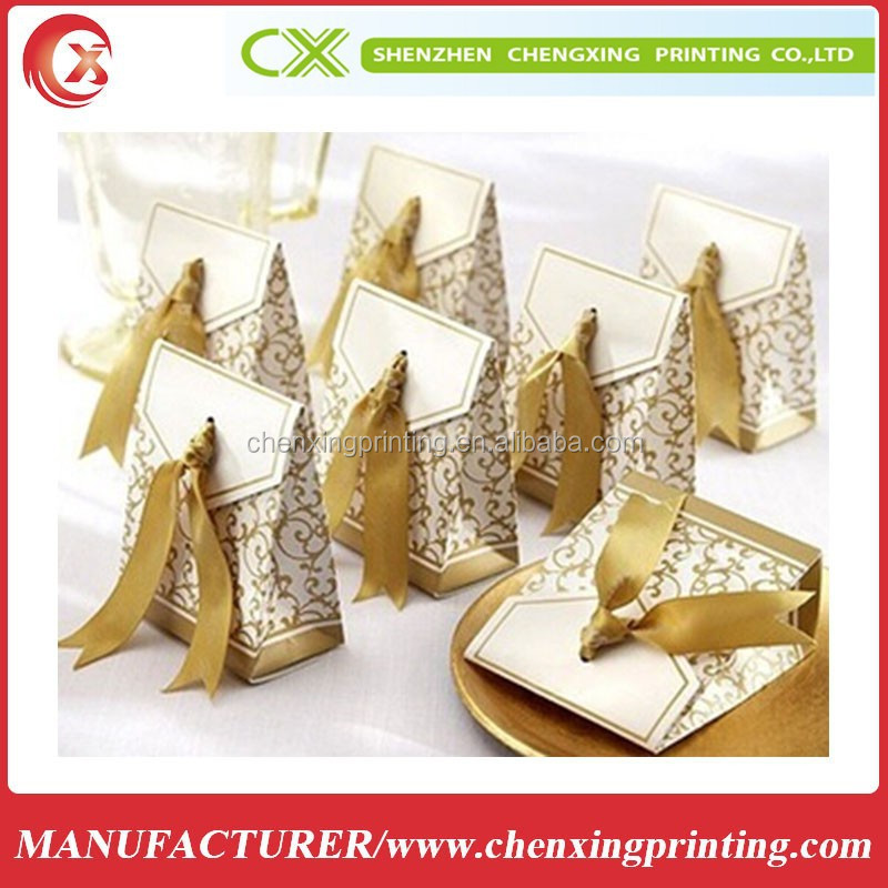 Gold UV Trapezoid Wedding Favors Candy Box Gifts Activity Party Packing Boxes